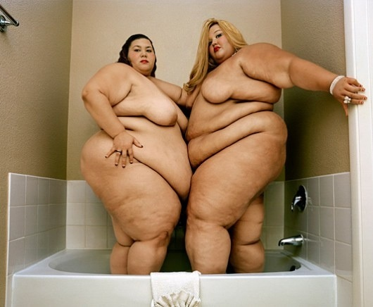 Two Really Fat Naked Women In A Shower